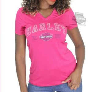 Authentic Harley Davidson NWT v neck pink graphict
